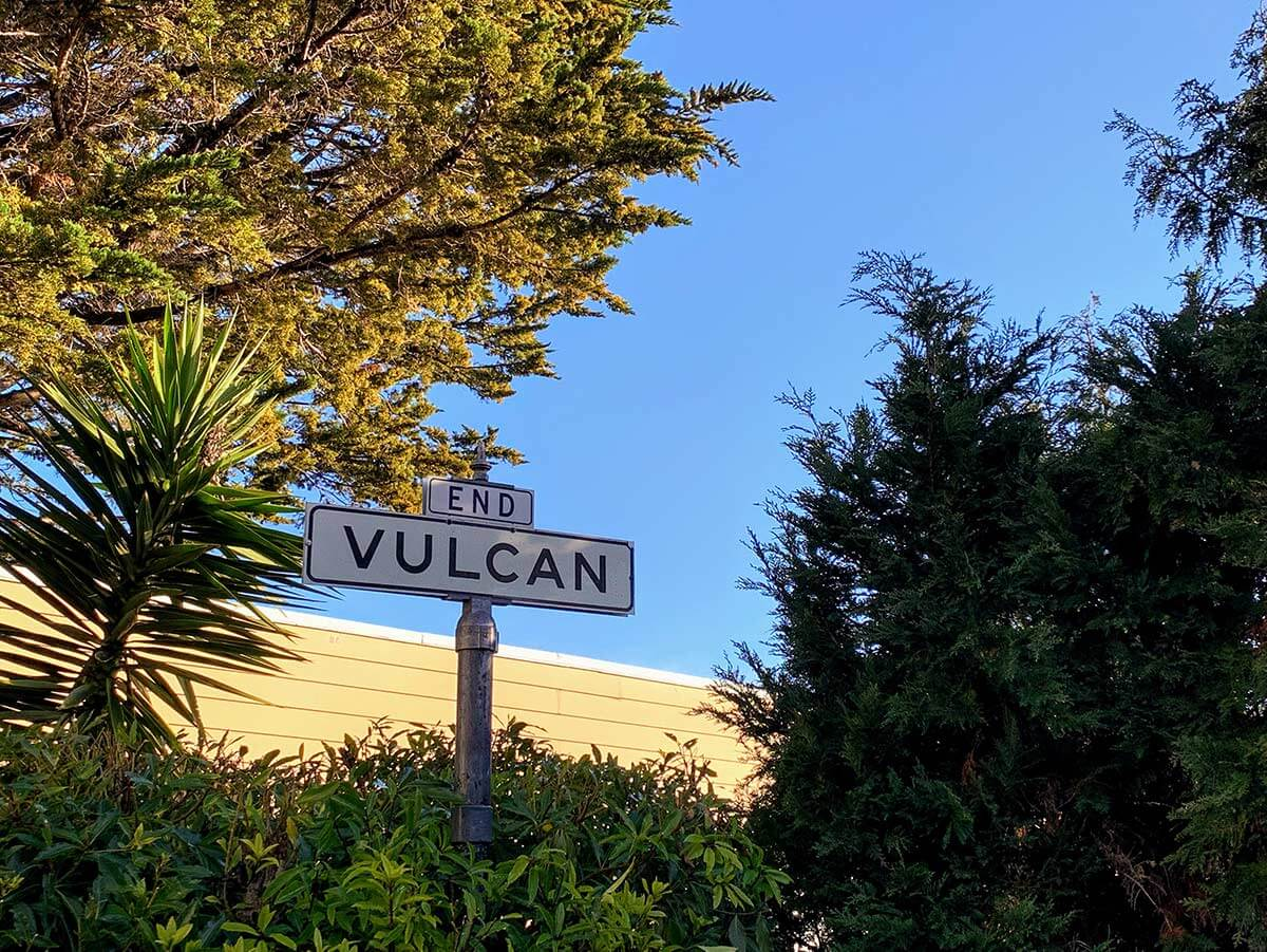 Vulcan Street Sign at Levant St