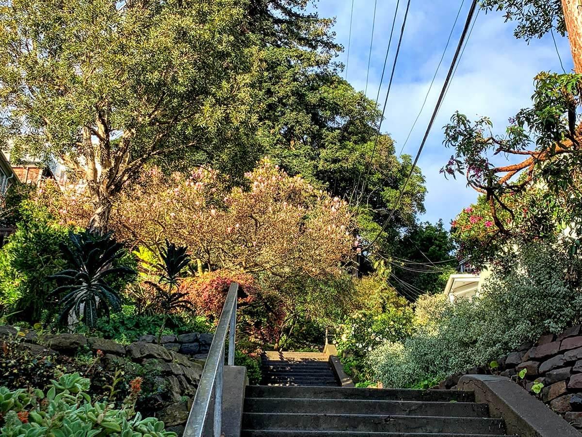 View of Vulcan stairway in San Francisco's Corona Heights neighborhood