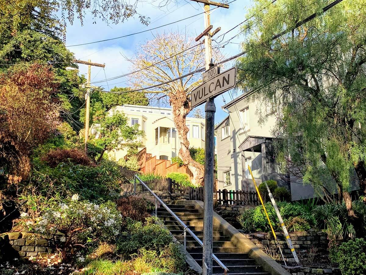 Vulcan stairs in Corona Heights neighborhood of San Francisco