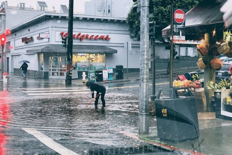 heavy rains clog storm drain in San Francisco after a winter of heavy rains in 2019