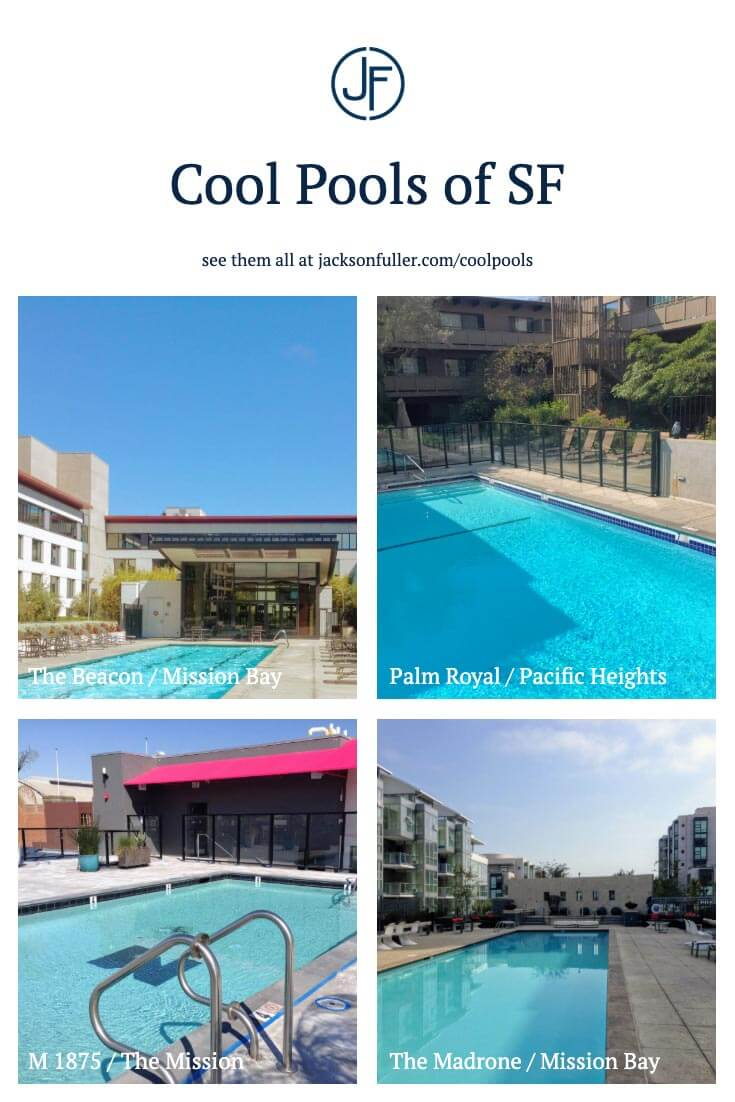 A picture showing four of the thirty condo buildings in San Francisco swimming pool amenity