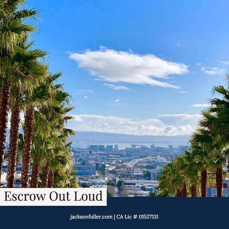 Escrow Out Loud San Francisco real estate podcast by Matt Fuller and Britton Jackson cover art with SF city image and palm trees