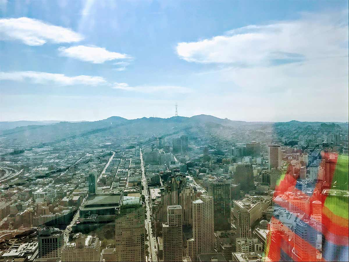 The Salesforce Tower and view from 61st Ohana Floor in Yerba Buena neighborhood of San Francisco by Matt Fuller Jackson Fuller real estate