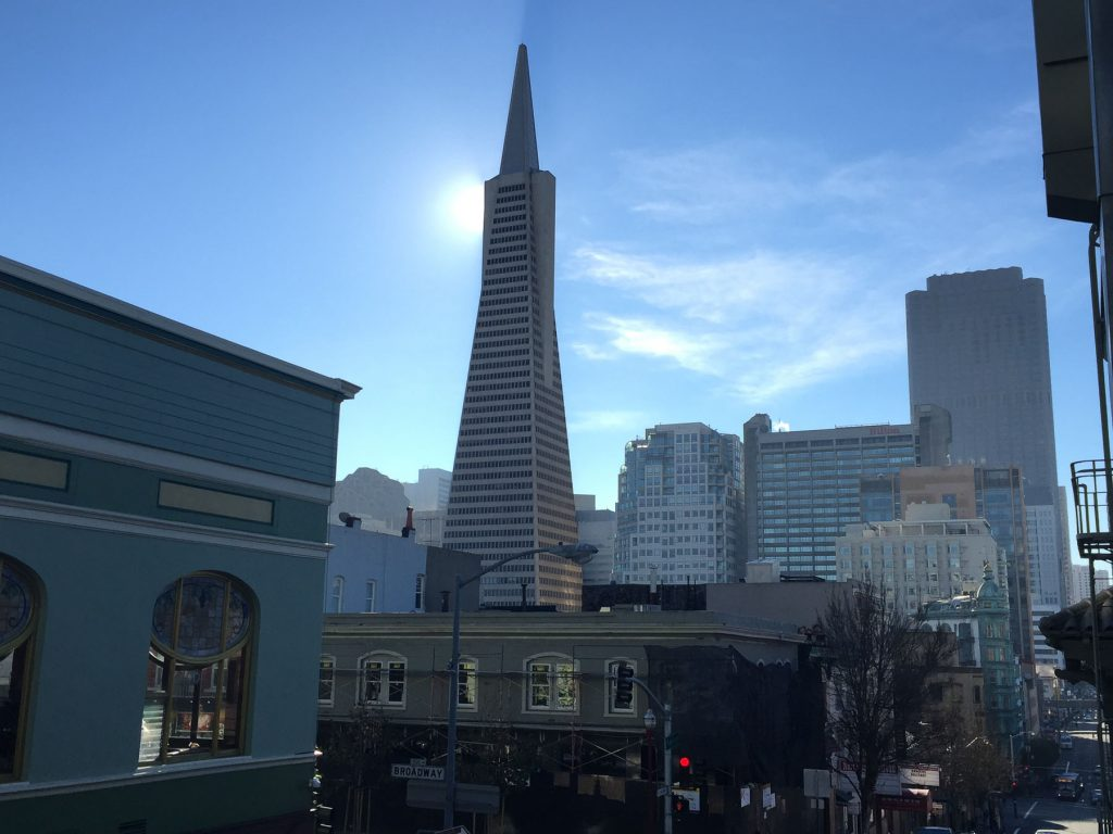 Transamerica Tower with SF condo buildings in San Francisco