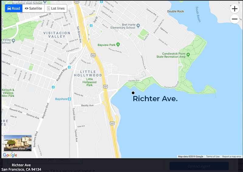 Map of Richter Ave. in San Franciso the shortest street underwater