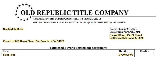 Image of Estimated Buyer Settlement Statement