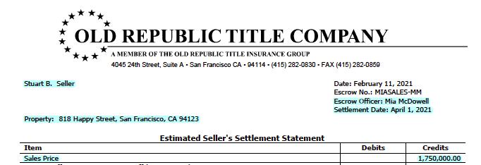 Image of Estimated Seller Settlement Statement