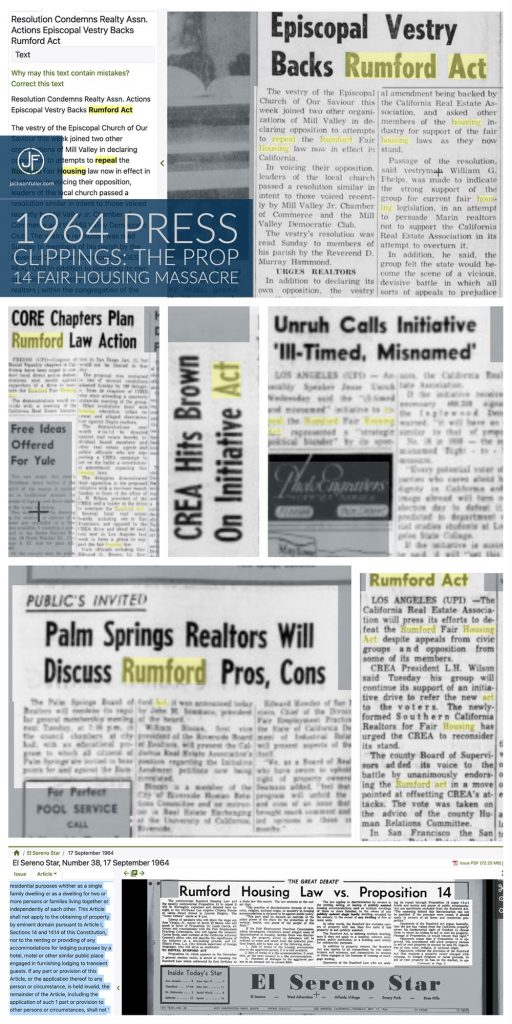 Prop 14 Headlines from 1964 newspaper clippings