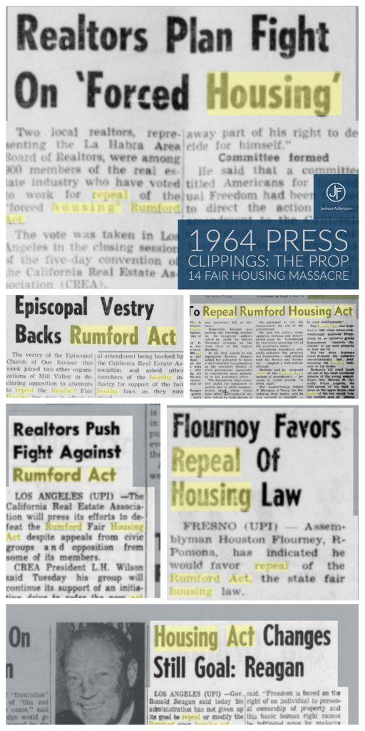 Rumford Fair Housing Act 1963 press clippings